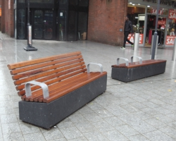 Dark grey polished benches.