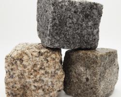 Various wet granite cobbles