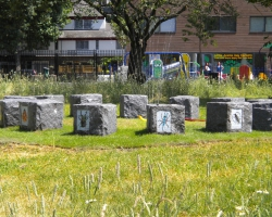 A garden with innovative use of granite blocks