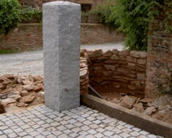 Granite gatepost natural finish with 10 10 5 setts